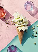 Pistachio and ricotta gelato