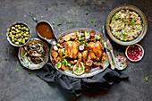 Roast Chicken Dinner with Fennel Rice, Brussels Sprouts, Baked Potato, Sautéed mushrooms, gluten-free