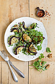 Oriental aubergines with walnut paste