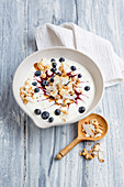 Vegane Blaubeer-Kokos-Bowl mit Nüssen