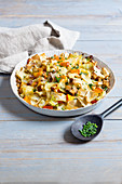 Pumpkin and cabbage Fleckerl (Austrian pasta) with tofu