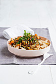 Wholemeal penne with balsamic lentil bolognese