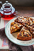 Bread cake with chocolate, apples and almonds