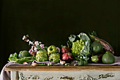 Beautiful rustic arrangement of various green vegetables