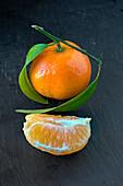 Mandarins on a slate platter