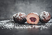 Truffle pralines with a blackberry filling