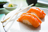 Authentic Japanese salmon nigiri