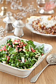 Parsley salad with pomegranate seeds and apples for the Jewish New Year