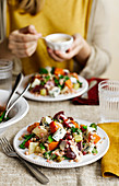 Butternut Squash Salad with blue cheese