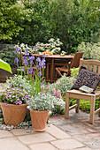 Topf - Arrangement und Sitzplatz auf der Terrasse