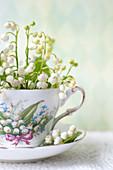 Maiglöckchen Blüten in Tasse
