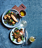 Salmon with black lentils and roasted cauliflower