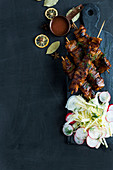 Pork-belly kebabs with fennel slaw