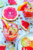 Grapefruit mocktail with color sugar, ice decorated with grapefruit slices, pomegranate seeds and thyme sprigs