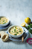 Lemony chicken and rice soup with kritharaki