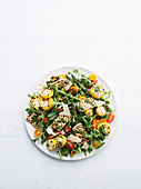 Charred tofu, corn and asparagus salad