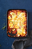 Calabrian lasagne with mince meet, boiled eggs and ham