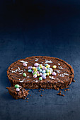 No-bake chocolate tart with Easter eggs