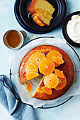Simple mandarin and almond cake with whipped cream