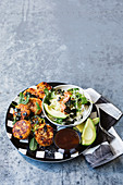 Sweet potato fish cakes with japanese style slaw