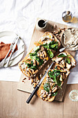 Bruschetta with mushrooms and whipped ricotta