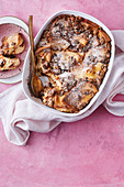 Bread and butter cookie dough pudding