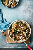 Roasted pumpkin and broccoli buckwheat salad