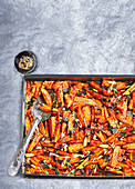 Orange soy-glazed sweet potato with nori