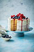 Pancake cake with berries and mascarpone
