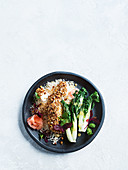 Almond-crumbed fish with miso vinaigrette
