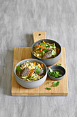 Ramen vegetable soup with herb tatar dumplings