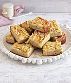 Apple cake bars with almonds and cinnamon