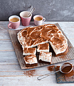 Tiramisu slices with amaretto