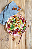 Sauerkraut and pineapple salad with fried tofu
