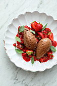 Chocolate mousse with rhubarb and strawberries