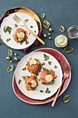Potato pancakes with smoked salmon, chive crème fraîche, and quail eggs