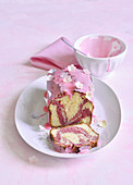 White and pink marble cake