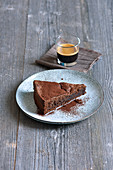 Chocolate mousse tart with an espresso
