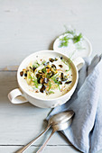 Cauliflower and fennel soup with pumpkin seeds