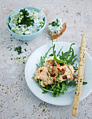 Cream cheese pesto spread and spring onion spread