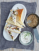 Goat's cream cheese spread with herbs and honey