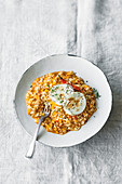 Pumpkin and chilli risotto with grilled goat's cheese