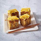 Banana and orange poke cake