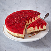 Pomegranate poke cheesecake