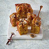 Pumpkin and banana poke cake