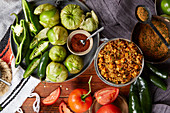 Mexican rice and vegetable dish with ingredients