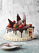 Strawberry tiramisu cake with chocolate shavings