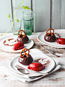 Mini chocolate and beer Bundt cakes with damson sorbet