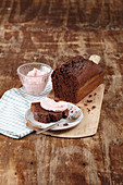 Beetroot loaf cake with a beetroot and cream cheese topping
