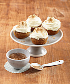 Carrot cupcakes with cream cheese frosting and cinnamon sugar